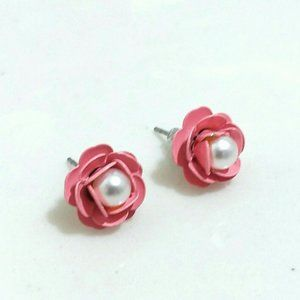 Pink Rose Pearl Stud Earrings Light Weight
